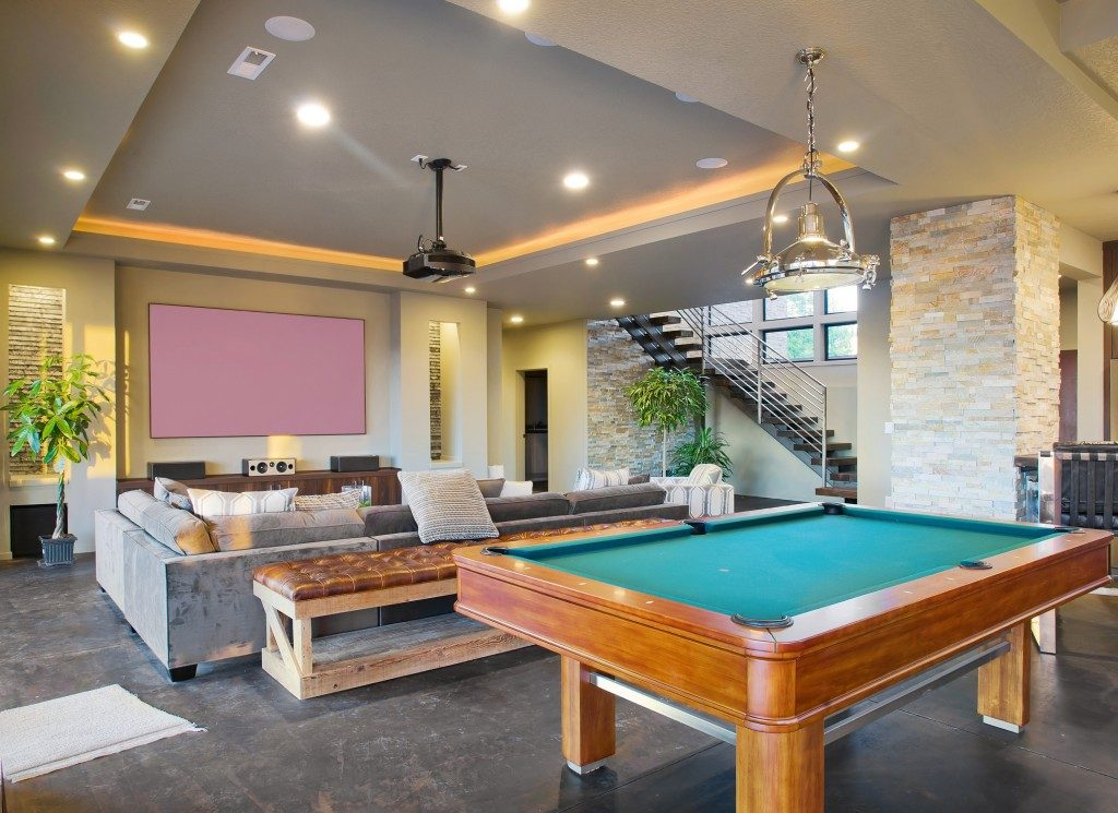 entertainment area in a home's basement