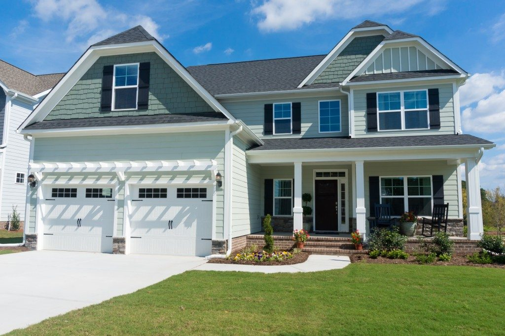 a home with garage doors