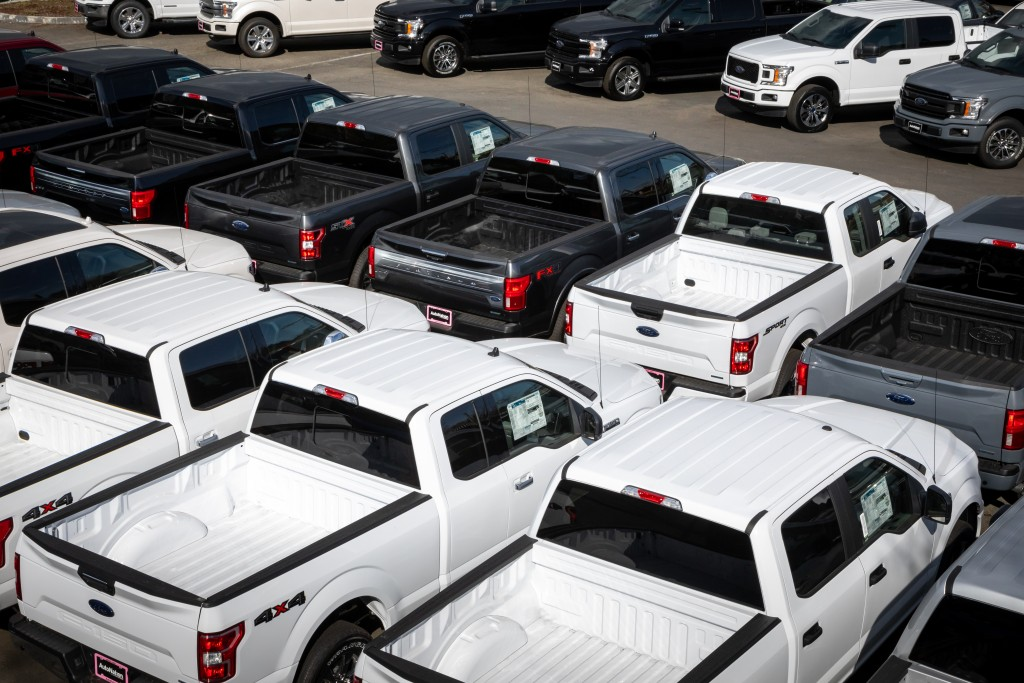 parked pickup trucks for sale