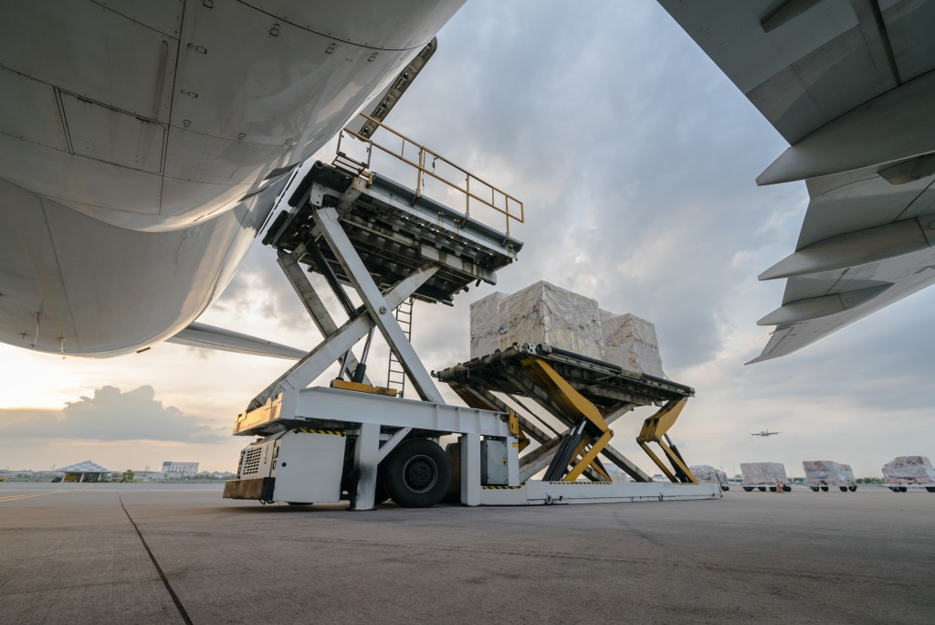 Cargo loaded into an airplane