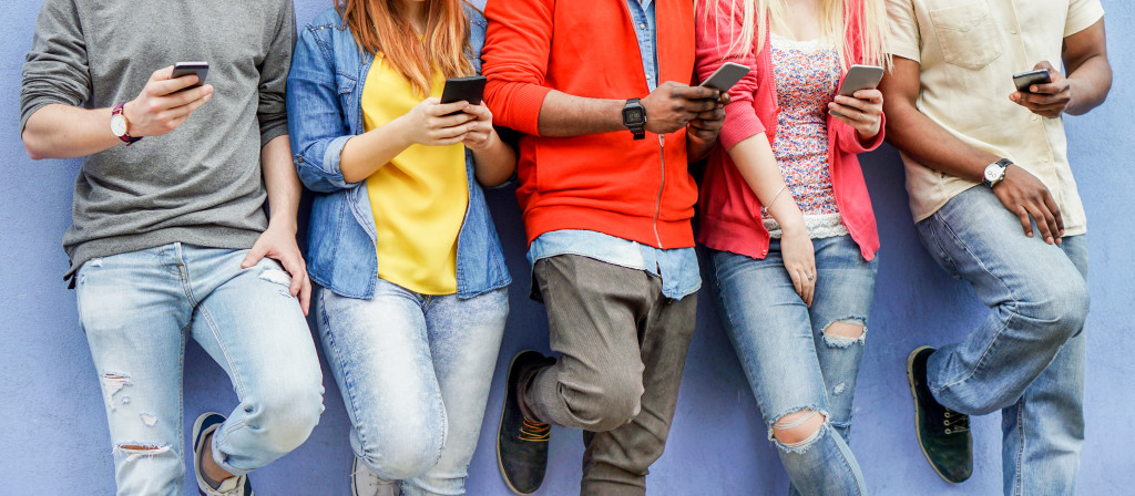 young people using phone