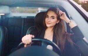 woman inside her car