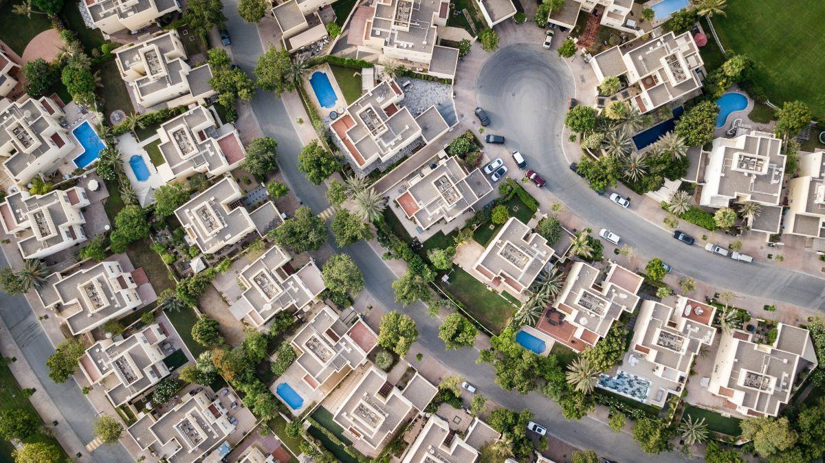 top down view of neighborhood