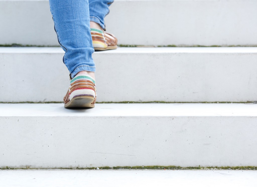 walking on the stair