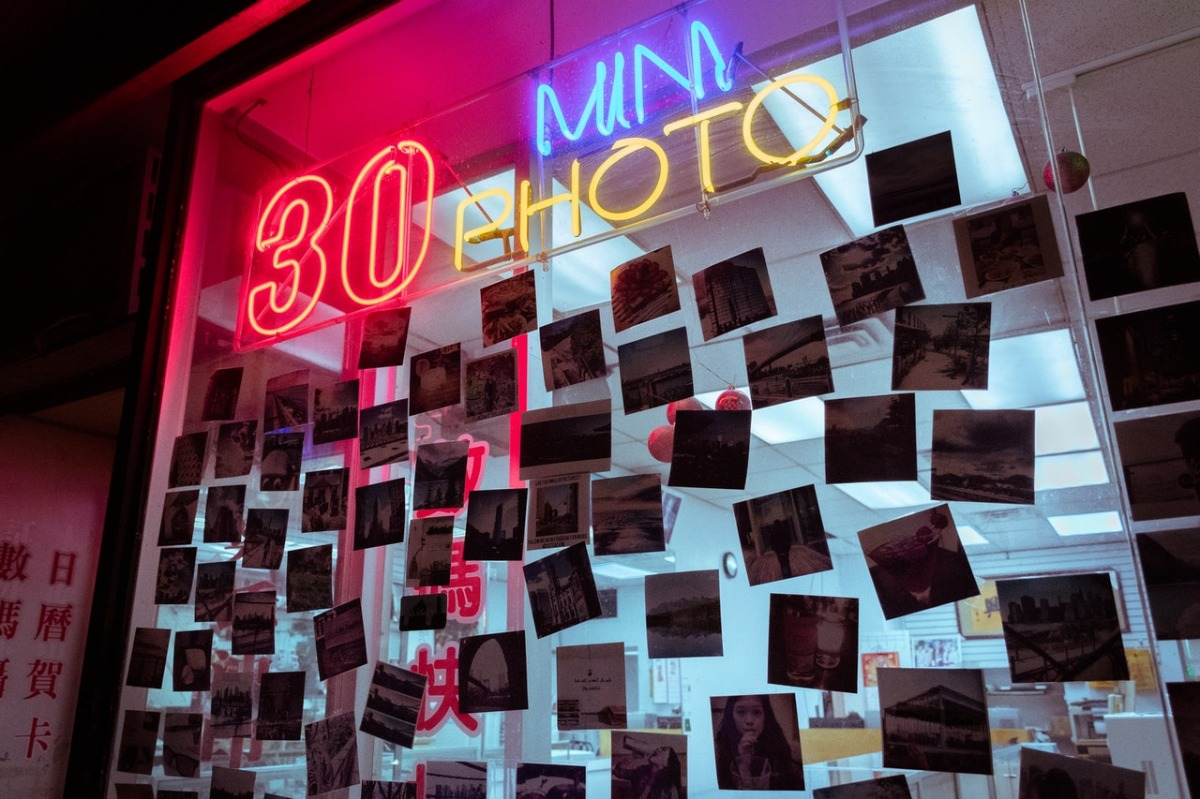 store with neon lights