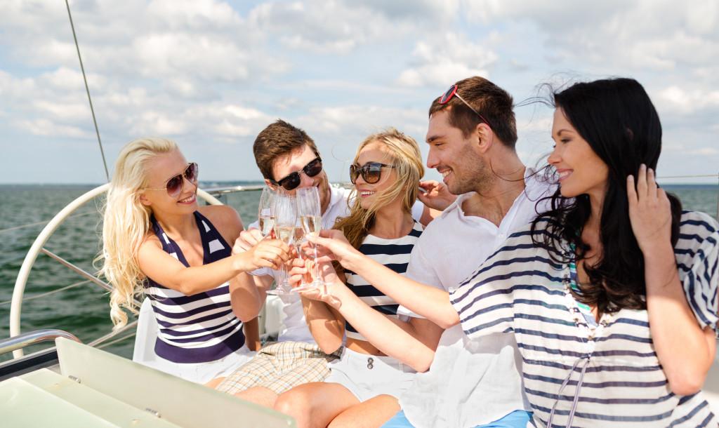 celebrating on a yacht