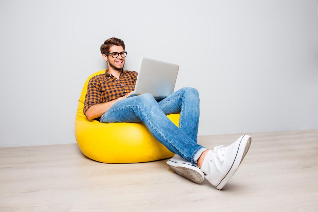 man working freelance